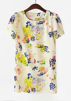 Multicolor Print Pleated Puff Short Sleeve Polyester Dress