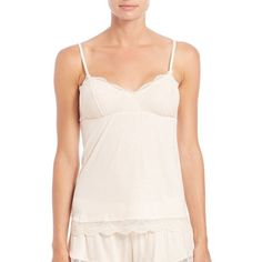 Eberjey Bonnie Lace-Trim Camisole ($49) ❤ liked on Polyvore featuring intimates, camis, apparel & accessories, creme, lace camisole, lace trim camisole, eberjey, eberjey camisole and lace cami