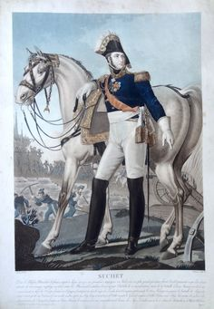 """Louis-Gabriel Suchet, duc d'Albufera, """"El hombre justo"""" (né le 2 mars 1770 à Lyon - mort à Marseille le 3 janvier 1826) - Maréchal d'Empire - gravé par Charon d'après Aubry et publié chez Jean - MAS Estampes Anciennes - Antique Prints"""