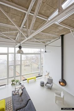 Love the fire place, heating and the loft itself ofcourse (Loft House Eastern Harbor District Amsterdam, Marc Koehler Architects www.afflante.com)