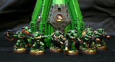Warhammer 40k, Space Marines. Salamanders Chapter Sternguard Veterans and a custom Drop Pod. Nice work!