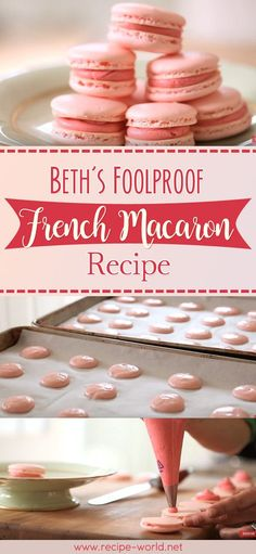 Beth's Foolproof French Macaron Recipe <br> Macarons are traditionally made from shredded coconut and condensed milk. French macarons are meringue-based cookies made from eggs, sugar, and almond powder. Best Macaroon Recipe, Fool Proof Macaron Recipe, French Macaroon Recipes, French Macaroons, French Recipes, Sugar Free Macaron Recipe, Basic French Macaron Recipe, Paleo Macaroons, Cookies