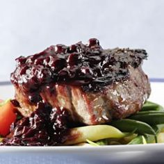 This Blueberry-Bourbon Barbecue Sauce recipe is delicious on grilled steaks or chicken!