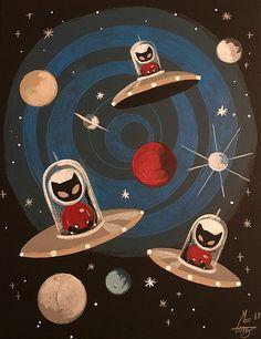 Alien Gatos by El Gato Gomez Mid Century Modern Art, Mid Century Art, Art Alien, Geeks, Black Cat Art, Black Cats, White Kittens, Art Mignon, Gomez
