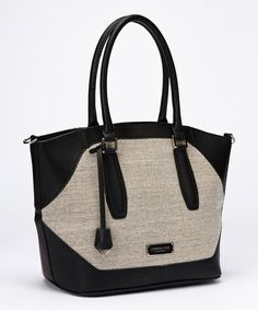Black Convertible Avery Linen Tote by London Fog