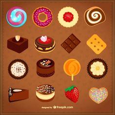 Sweets vector set Free Vector