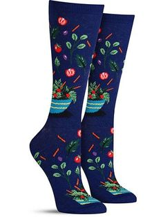 Fun salad socks in dark blue