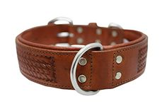 Genuine leather dog collar 24 x 15 Brown Padded and Western basket tooled 100 Argentinean cowhide Angel Elite SANTA FE Necks 17522 ** Click image to review more details. (Amazon affiliate link)