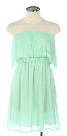 Strapless mint dress.