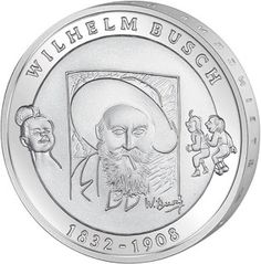 Germany 10 Euro Silver Coin 2007 175th birthday of Wilhelm Busch