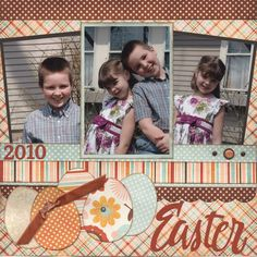 color palettes, picture layouts, color pallets, mixed prints, easter layout, easter scrapbook layouts, brighter color, egg, american crafts