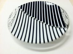 Summer sale! 16 inch platter with black and white backround. Flat edge finish. Food safe. Lays flat and is very stable. Signed by