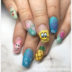 Nail art spongebob nails gel nails acrylic nails coffin nail spongebob cartoon nails crazy nails ocean nails sea nails deadly claws spongebob nail art character nails