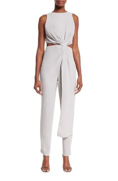 Halston Heritage Sleeveless Twist-Front Jumpsuit, Vapor: http://www.stylemepretty.com/2016/07/27/how-to-wear-a-jumpsuit-to-a-wedding/