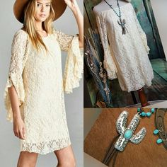 Country CREAM LACE DRESS Ruffle Sleeves COWGIRL GYPSY Western Boho LARGE nwt #velzerra #Shift