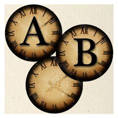 New Steampunk Alphabet and Numbers in 1 inch Circles piddix digital... ❤ liked on Polyvore featuring home, home decor, steampunk and clock