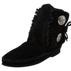 Minnetonka Black Leather Ankle Booties Two Button Soft soles. Minnetonka. Wear on bottoms. Upper like new. Ties in side. Minnetonka Shoes Ankle Boots & Booties