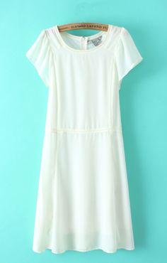 O-neck Short Sleeves White Chiffon Dress