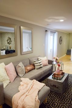 Who says the basement has to be the Man Cave? I say give it a feminine touch with mixed metallics and soft pink and blush. HomeGoods Sponsored Pin.
