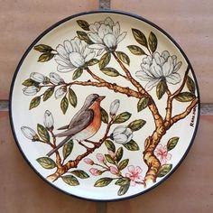 Pajarilllos que vais por el campo... #plates #paintedplate #decorativeplate #birds #ceramics #decor #design #home #homedecor #painting #colorful #ceramica #ceramicasevillana #diseño #colorido #platospintados #pajarosrama
