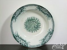 Antique French Green Ironstone Transferware by BeauChateauBoutique