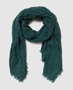 Fular de algodón tejido verde