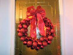$6 Dollar Wire Hanger Christmas Ornament Wreath and Bow Tutorial | Six Sisters' Stuff