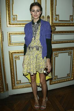 Olivia Palermo Never, Ever Gets an Outfit Wrong (Heres the Proof): Olivia Palermo mixed purple with yellow like a pro at a cellphone launch party in Paris.