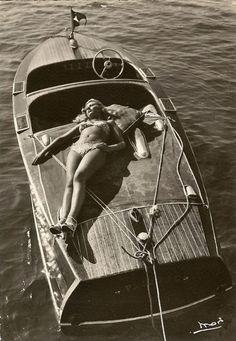 Vintage bikini and Chris-Craft