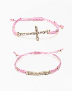 Pink Pave Bracelet Set