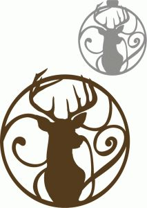 Silhouette Design Store - View Design #70812: circle flourish mounted reindeer ornament