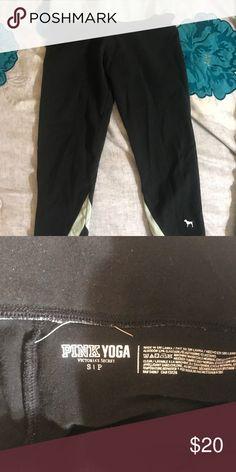 PINK Capri Yoga Pants Victoria's Secret Pink Yoga capris with light blue stripes PINK Pants Capris