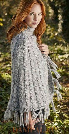 Теплое вязаное пончо «Weald»