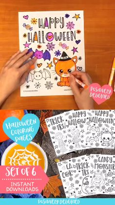 Looking for a fun and scary Halloween activity? Enjoy this set of six Halloween coloring pages to ce Nail Art Halloween, Halloween Movie Night, Halloween Class Party, Halloween Tattoo, Toddler Halloween, Halloween Birthday, Halloween Decorations, Halloween Costumes, Halloween Phrases