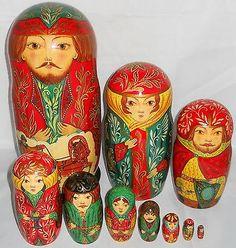 Vtg-10-pc-Lg-11-Signed-1992-Tzar-Russian-Family-Nesting-Dolls-Matryoshka-Gold