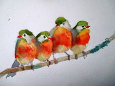 Discover thousands of images about Red Birds ORIGINAL Watercolor painting / Bird by ArtCornerShop Watercolor Bird, Watercolor Animals, Watercolor Paintings, Bird Drawings, Bird Pictures, Little Birds, Bird Art, Painting Inspiration, Painting & Drawing