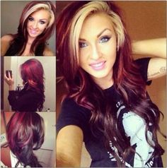 Ideas Hair Color Blonde Streaks Red - All For Hair Cutes Red Blonde Hair, Blonde Streaks, Hair Color Streaks, Dark Red Hair, Burgundy Hair, Hair Color Dark, Hair Color Balayage, Blonde Color, 2 Tone Hair Color