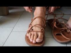 From TEVA to Greek leather lace up SANDALS 1080p50 young feet - YouTube