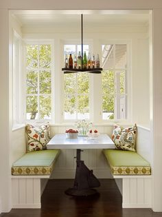 breakfast nook ideas breakfast nook table white benches green padding