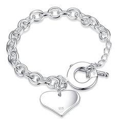 NYKKOLA Schöne Fashion Jewelry Armband Herz Silber 925 Anhänger Love