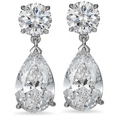 Pear-Shaped Brilliant Diamond Drop Earrings in Platinum (8.07 CTW) ❤ liked on Polyvore featuring jewelry, earrings, platinum jewellery, pear shape earrings, round earrings, round drop earrings and teardrop earrings