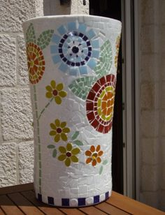 Handmade Mosaic flower pot. Made to order. contact soostag@hotmail.com