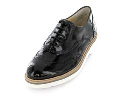 Paul Green - Schwarzer Damen Dandy Schnürer mit weisser Sohle Dandy Look, Men Dress, Dress Shoes, Paul Green, Oxford Shoes, Lace Up, Flats, Style, Fashion