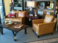 The small chair with BIG comfort. The Gotham Chair measures only 28 inches wide and the Loveseat only 52 inches. Shown here in Echo Caramel leather at Broom Corn Fabrics in Memphis, TN (www.broomcornfabrics.com)