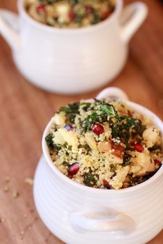 Crispy Kale Salad with Couscous, Grilled Chicken, and Pomegranate Seeds from Halfbaked Harvest