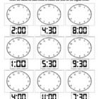 Telling time worksheet, hour and half hour intervals! Telling Time Activities, Teaching Time, Student Teaching, Math Activities, Summer Worksheets, 1st Grade Worksheets, School Worksheets, Math Classroom, Kindergarten Math