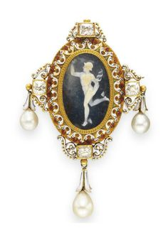 AN ANTIQUE ENAMEL, DIAMOND AND PEARL CAMEO BROOCH, BY FROMENT-MEURICE  Centering upon a carved agate cameo depicting a Greek figure, within a white and red enamel and gold foliate surround, enhanced at the cardinal points with an old mine-cut diamond and scrolled white enamel detail, suspending pearl drops, mounted in gold, circa 1870, (with pendant hoop for suspension)  Signed Froment-Meurice
