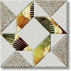 Balkan Puzzle block...Ooooh, I LIKE this! The fabric is awesome as well...should really POP as a whole quilt!