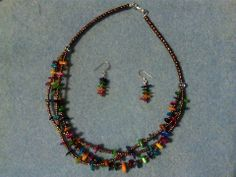 LOVE LOVE LOVE THIS NECKLACE SET!!!  MULTI-COLOR SHELL GEMSTONE WITH BRONZE SEED BEADS NECKLACE AND EARRINGS SET!