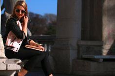pants - Zara / top - Mango / college jacket, earrings & bracelets - Forever 21 / clutch - from Rhodes / sunglasses - Zalando / flats - Deichmann Jacket Earrings, Rhodes, Zara Tops, Mango, Forever 21, College, Flats, Sunglasses, Bracelets
